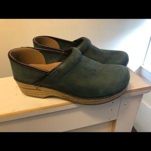Dansko Green slip on clogs